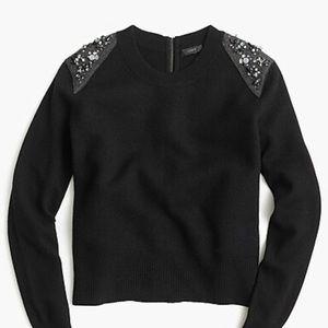Jeweled wool back-zip sweater